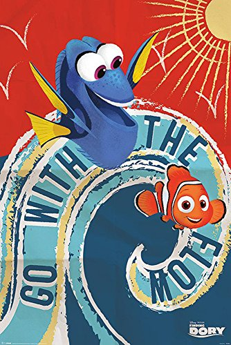 Findet Dorie - Finding Dory - Go with The Flow - Disney Zeichentrick Animation Film Movie Kino Poster Druck 61x91,5
