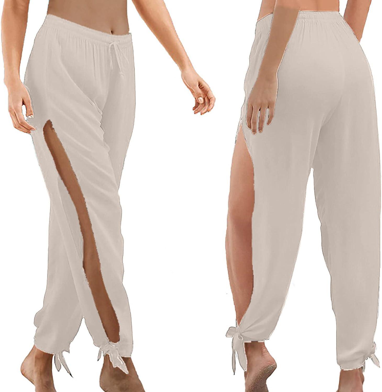 Hesxuno Womens Summer Casual Solid Elastic Waist Drawstring High Slit Baggy Lightweight Sweatpants Loose Yoga Beach Trousers