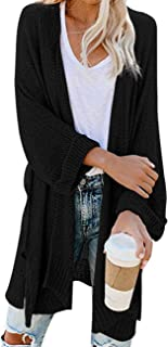 CPOKRTWSO Women's Loose Open Front 3/4 Sleeve Knit Kimono Cardigans Sweater with Pockets