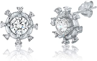 Montage Jewelry Women's Sterling Silver & Round Cubic Zirconia Classic Bridal Stud Earrings