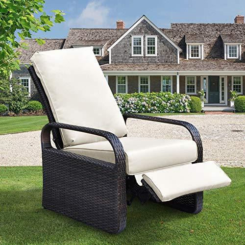 Silla reclinable de mimbre de resina para exteriores con cojines