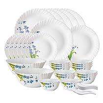 Larah by Borosil Lavender Opalware Dinner Set, 35 Pcs, White