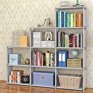 Jaketen Bookshelf 9-Cubes Book Shelf Office Storage Shelf Plastic Storage Cabinet (Grey)