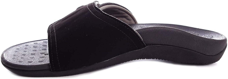 Irsoe Men's Matt Black Summer Flip Flop Sandal Orthotic Arch Support