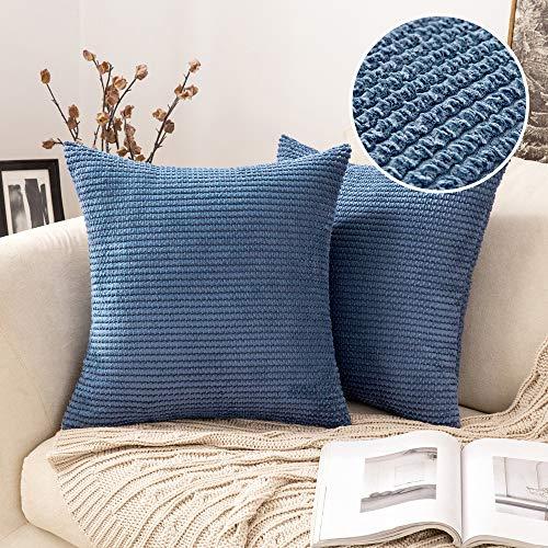MIULEE 2 Piezas Funda de Cojines Poliéster Elegante Suave y Duradero Funda de Almohada Cómoda para Sofá Cama Decoracion Modernas Preciosas para Sillas Dormitorio Habitacion 45x45cm Azul