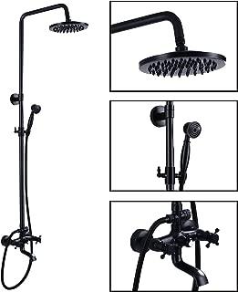 Wall Mounted Oil Rubbed Bronze Bathroom Rainfall Shower Faucet System Set Mixer 8-Inch Round Head Double Knobs Cross 2Handle Bathroom Bathtub Hand Spray Tub Tap Bathroom Fixtures