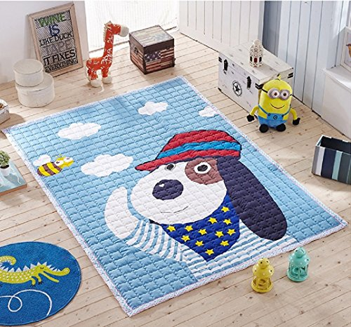 Grand tapis de jeu lavable en coton doux pour enfants et bébés (chien)