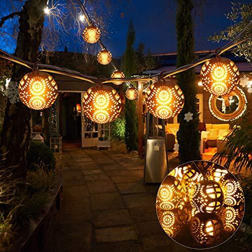 Idesign lichtketting, bal, vlam, LED, 8 ballen, 7 m, 4 modi, met afstandsbediening, decoratie voor huis, open haard of raam, bruiloft, tuin, patio, Kerstmis