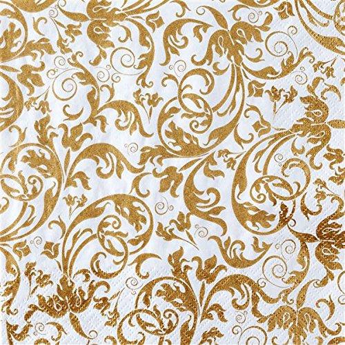 20 Servietten Edle Ornamente gold/Muster/Geburtstag/Hochzeit 33x33cm