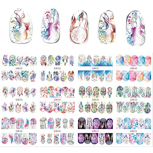 Nail sticker New 12 Sheets/Lot Mix Owl Dream Catcher Nail Art Water Transfer Decal Sticker For Nail Art Tattoo