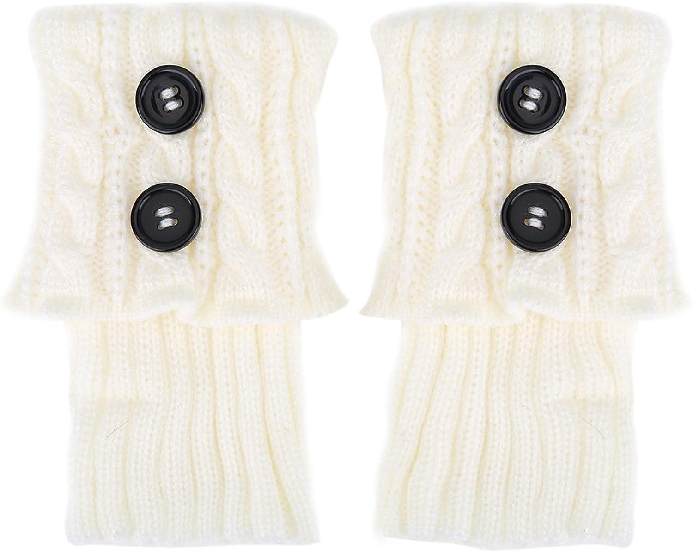 Boot Cuffs Toppers,2 Pair Women Winter Short Leg Warmer Crochet Knit Button Boot Topper Socks