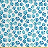 Lunarable Seashells Fabric by The Yard, Scallops with Stripes in Blue Tones Abstract Ocean Life Theme, Decorative Fabric for Upholstery and Home Accents, 1 Yard, Green Navy