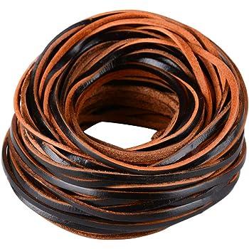 FLOFIA 3mm Cordón de Cuero Plano Banda Cintas de Cuero Leather Cord Tira Cuero 20m para Colgante Pulsera Collar Manualidades Fabricación de Bisutería Artesanía ...