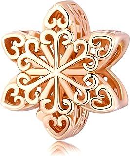 Abalorio de plata de ley con nieve calado con circonita cúbica Charm Beads Compatible con Pandora pulseras collar