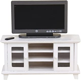 Toygogo 1:12 Dollhouse Furniture White Wooden TV Cabinet & Black Television for Living Room Decoration, European Style, Handcrafts Collectibles