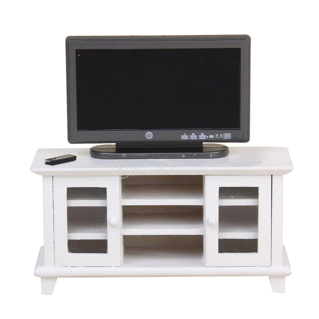 Amazon.es: Baoblaze Escala 1:12 Miniatura Modelo de TV Televisión de Plástico con Gabinete de Madera para Casa de Muñeca - Blanco + Negro: Juguetes y juegos