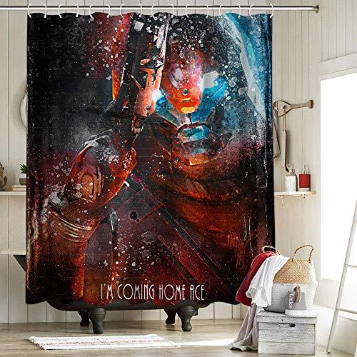Im Coming Home Ace Duschvorhang aus Polyester, feuchtigkeitsabweisend, ultimative Gaming-Tribute-Spielkunst, 137 x 157 cm