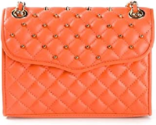 Quilted Mini Affair with Studs Leather Shoulder Flap Bag Orangina