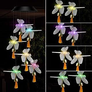 أجراس الرياح الشمسية مع مصابيح LED متغيرة الألوان، ديكور مثالي للخارج، الفناء، الحديقة، والإضاءة المنزلية - تتضمن مواد مقا...