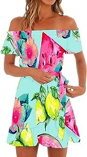 Womens Hawaiian Dresses Off The Shoulder Floral Short Sleeve Strapless Summer Beach Dress