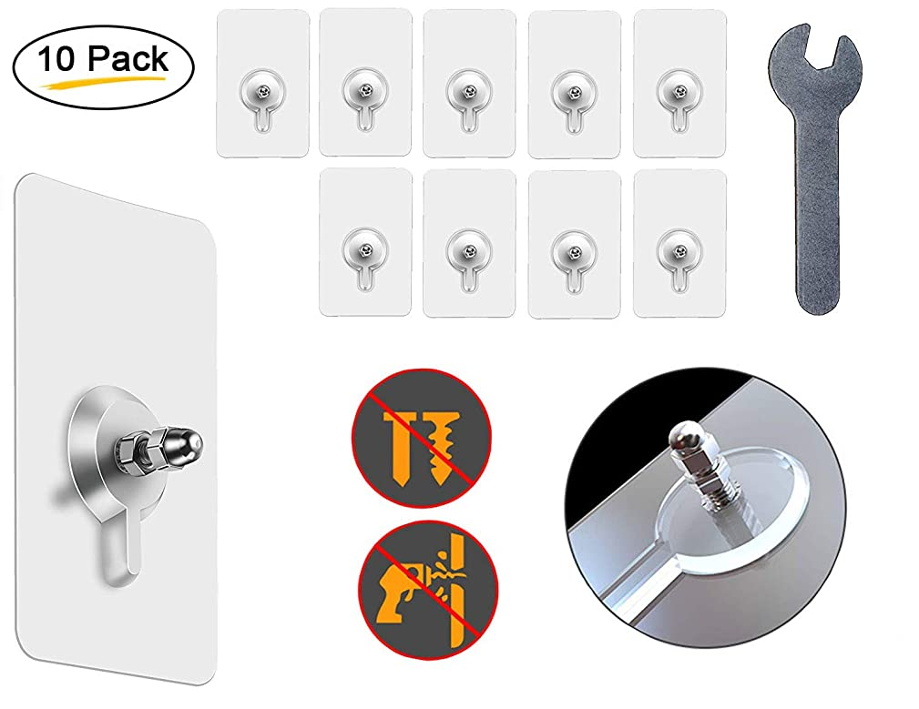 Self-Adhesive Hanging Nails & Wrench Tool | Heavy-Duty & Drill-Free Transparent Hangers 22lb. Weight Capacity | Sticks to Most Walls | Easy to Mount, Waterproof & Reusable | Pack of 10
