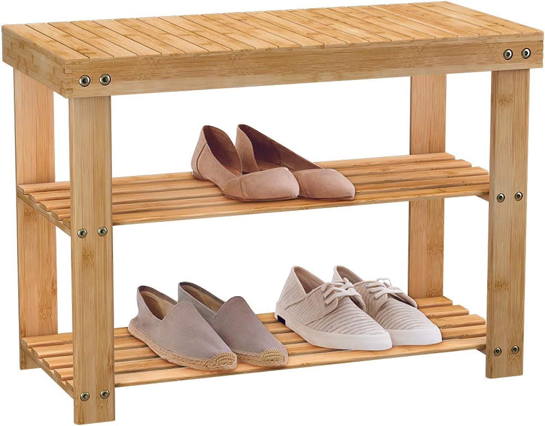 shoes Rack Bench 2 Tier Entryway Seat Storage Shelf Foot Stool Hallway Bedroom Bamboo
