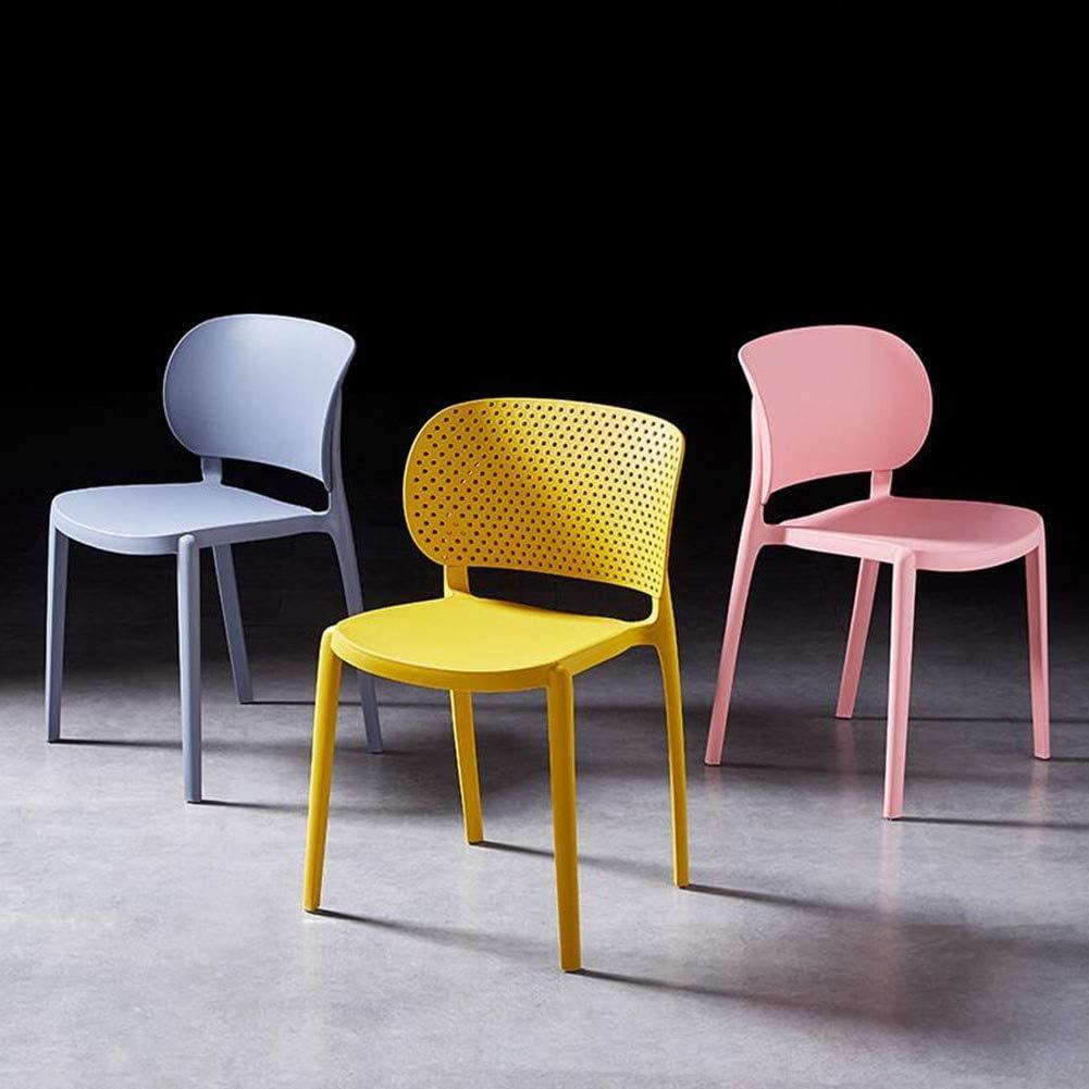 DALL Chaise De Salle À Manger Lot De 2 PP en Plastique Chaise De Réception du Dossier Empilable Chaise De Table Restaurant Chaise De Café 44X49X78cm (Color : Black) Pink