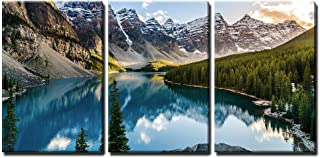 wall26 - 3 Piece Canvas Wall Art - Landscape View of Moraine Lake and Mountain Range at Sunset in Canadian Rocky Mountains - Modern Home Decor Stretched and Framed Ready to Hang - 16