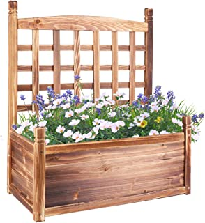 UNHO Wooden Planter Box with Trellis, Flowerpot with Lattice Garden Flower Pot Box Climbing Freestanding Weatherproof Rais...