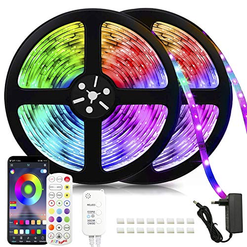Tira de luces LED RGB de 20 m, con cambio de color, sincronización de música, mando a distancia y control de aplicación, para casa, dormitorio, cocina, fiesta