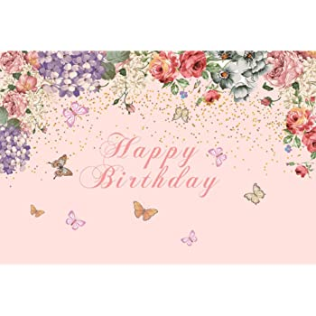 9x6ft Birthday Backdrop Pink Flamingo Butterfly Blooming Flower Edge Happy Birthday Photography Background Boys Girls Children Birthday Party Banner Decor Kids Portrait Shooting Props