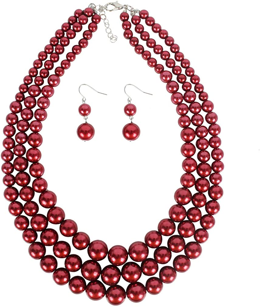 YAZILIND Imitation Pearl Jewelry Sets Necklace Earring Jewelry Set Multi Layer Faux Pearl Strand Costume Jewelry Set