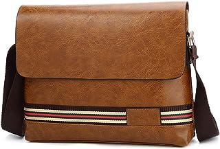 PU Leather Messenger Bag for Men, Crossbody Bag Satchel Shoulder Sling Work Bag Waterproof Briefcase,Orange