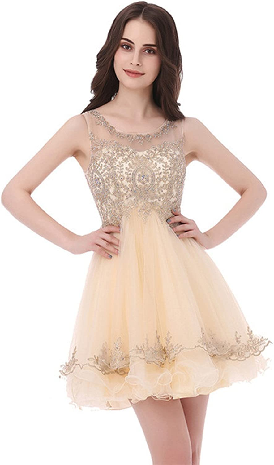 XSWPL Sexy Sheer Neck Short Prom Dress Appliques Beaded Formal Evening Party Gowns