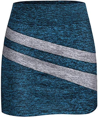 Running Skirts for Women with Shorts,Girls Active Sportwear Gym Fitness Casual Airy Cool Skort Fashion 2020 Stylish Patchwork Stretch Skirt Tennis Golf Workout Essential Skirt Marled Blue Medium