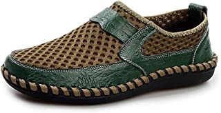 Men's Shoes-Summer Fashion Mesh Breathable Casual Shoes for Men Lighweight Anti-slip Flat Loafers Two Tones Lined Round Toe Slip-on Leisure (Color : Green, Size : 43 EU)