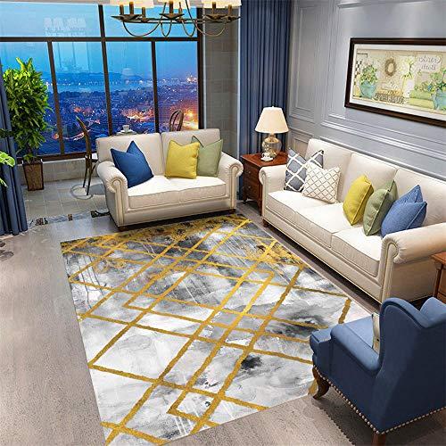 DJHWWD tapijten, stof absorberend, woonkamer, antivuilafstotend en duurzaam woonkamertapijt met grijze gele geometrische patronen minimalistisch vuilafstotend kindertapijt