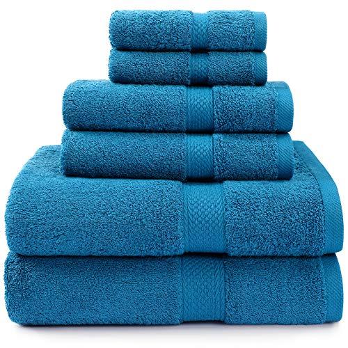 Isbasa Cotton - Juego de toallas de baño absorbentes de lujo para spa y baño, 2 toallas de baño, 2 toallas de baño, 2 toallas de mano, 2 toallas de baño, 2 toallas de baño (Navi)