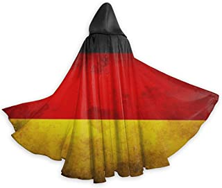 Vintage German Flag Halloween Cloak Fancy Hooded Cape with Drawstring Adult Cool Witch Robe Extra Long Party Cape