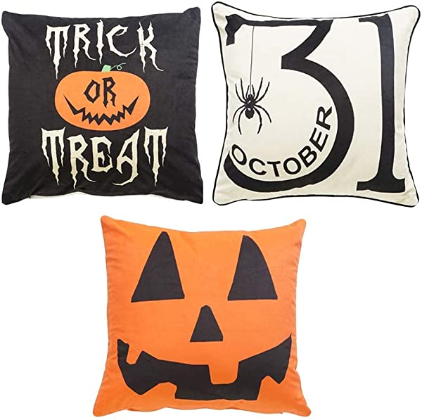 Halloween Pillow Covers Decorative Pillow Covers With Pumpkin Print 18 X 18 Inch For Home Decorations Set Of 3