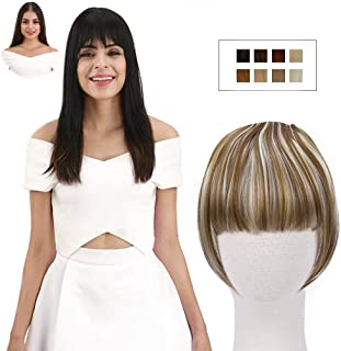 REECHO Fashion Full Length Synthetic Clip in Hair Bangs Extensions Fringe Hair Extensions Color - Light Brown with Light Blonde Highlights