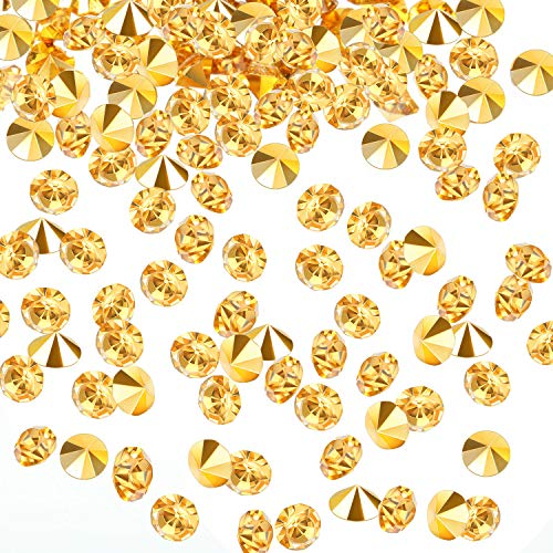 10000 Clear Wedding Table Scatter Confetti Crystals Acrylic Diamonds Rhinestones for Table Centerpiece Decorations Wedding Decorations Bridal Shower Decorations Vase Beads (Gold, 3 mm)