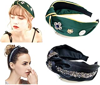Knotted Headbands for Women Hair Twist Rhinestone Top Knot 2PCS Wide Band Fashion Cute Studs Hair Hoop Headbands For Adult Girl Vintage Hairband