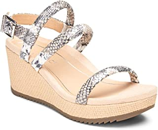 Vionic Women's Hoola Kora Wedge Espadrille Sandals - Adjustable Wedge Sandal with Concealed Orthotic Arch Support