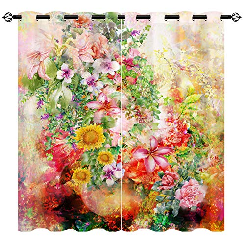 """EiiChuang Abstract Floral Curtains, Abstract Colorful Flowers Spring Valentines Romantic Theme Print Curtains, Living Room Bedroom Kitchen Cafe Grommet Window Drapes Decor, 2 Panels, 27.5"""" x 39"""""""