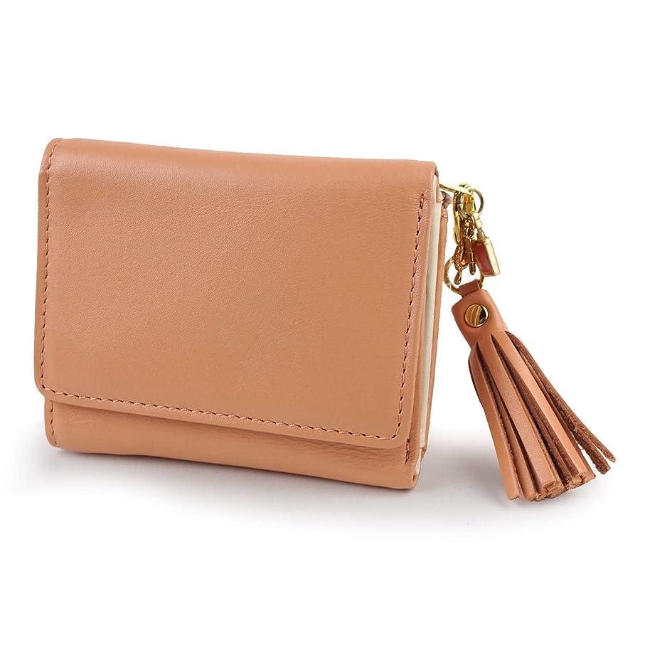 台風成分アート[イーモノ] 三つ折り財布 小さい財布 レディース 婦人財布 本革 牛革 パステル 大人 フリンジ チャーム かわいい 上品 E-premium