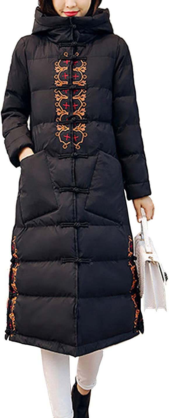 Yeokou Women's Long Winter Quilted Hooded Embroidered Parka Puffer Coat Jackets