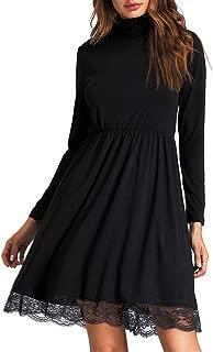 Women Basic Turtleneck Cotton Lace Casual Dress