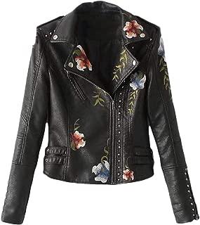 Macondoo Women Fashion Embroidery Faux Leather Coat Moto Jacket