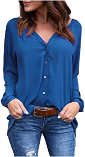 neveraway Women Long Sleeve Chiffon Drape Up Baggy Style V-Neck T-Shirt Top